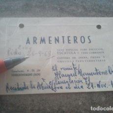 Documentos antiguos: ARMENTEROS - YESOS Y ESCAYOLAS - TORREDONJIMENO, JAÉN - TARJETA DE VISITA - 1963. Lote 181188232
