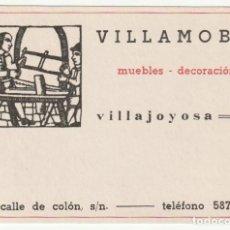 Documentos antiguos: TARJETA COMERCIAL VILLAMOBEL - VILLAJOYOSA ALICANTE - -R-7. Lote 181205656