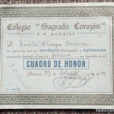 Documentos antiguos: NOTAS DEL COLEGIO SAGRADO CORAZON - H.H. MARISTAS - 1952. Lote 181319243