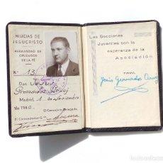 Documentos antiguos: CARNET MILICIAS DE JESUCRISTO, HERMANDAD DE CRUZADOS DE LA FÉ. 1940.. Lote 181352775