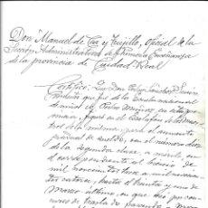 Documentos antiguos: CIUDAD REAL- MANUEL DE CEA Y TRUJILLO OFICIAL DE SECCION ADMINISTRATIVA ENSEÑANZA DE C. REAL 1.916. Lote 181402680