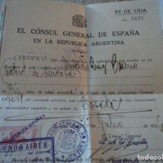 Documentos antiguos: FE DE VIDA CONSUL GENERAL DE ESPAÑA EN BUENOS AIRES JULIO 1936. Lote 181453836