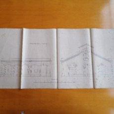 Documentos antiguos: PROYECTO EDIFICIO INDUSTRIAL S. XIX. FACHADAS SALA DE CALDERAS. ¿LA ESPAÑA INDUSTRIAL?. Lote 181457921