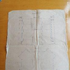 Documentos antiguos: PROYECTO DE VITRINA PARA LA ESPAÑA INDUSTRIAL. ESCALA E:1/20. CA1881. PAPEL SULFURIZADO 73X58 CM. Lote 181458406