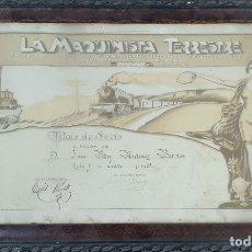 Documentos antiguos: TITULO DE SOCIO DE LA SOCIEDAD DE SOCORRO. LA MAQUINISTA TERRESTRE. 1955. . Lote 181470026