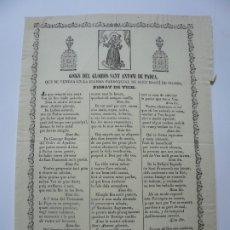 Documentos antiguos: GOIGS DEL FLORIOS SANT ANTONI DE PADUA. SANT MARTI DE OGASSA. GOIGS. IMAGINERIA POPULAR.. Lote 181561312