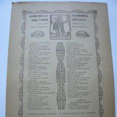 Documentos antiguos: GOIGS DE LA VERGE SANTA LLUCIA. ADVOCADA PER MAL DE VISTA. SANT SOBREMUN. GOIGS. IMAGINERIA POPULAR.. Lote 181561678