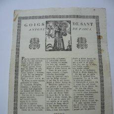 Documentos antiguos: GOIGS DE SANT ANTONI DE PADUA. GOIGS. IMAGINERIA POPULAR.. Lote 181562877