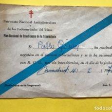 Documentos antiguos: PATRONATO NACIONAL ANTITUBERCULOSO PLAN ERRADICACION TUBERCULOSIS RESUTADOS EXAMEN TUBERCULINO 1970 . Lote 182173462