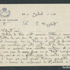 Documentos antiguos: HOJA DOCUMENTO CARTA CON SELLO CARTERIA DE IGUALADA AÑO 1933. Lote 182221676