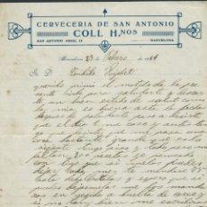 Documentos antiguos: HOJA CARTA CERVEZERIA DE SAN ANTONIO AÑO 1931 BARCELONA. Lote 182222943