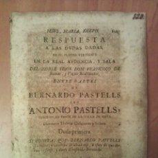 Documentos antiguos: 1735 - RESPUESTA A LA DUDA DADA - REUS. Lote 182224077