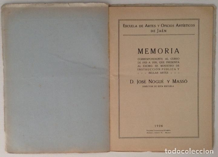 Documentos antiguos: JAEN Memoria curso 1925 - 1926 Escuela de Artes y Oficios Artísticos - Foto 2 - 182230081