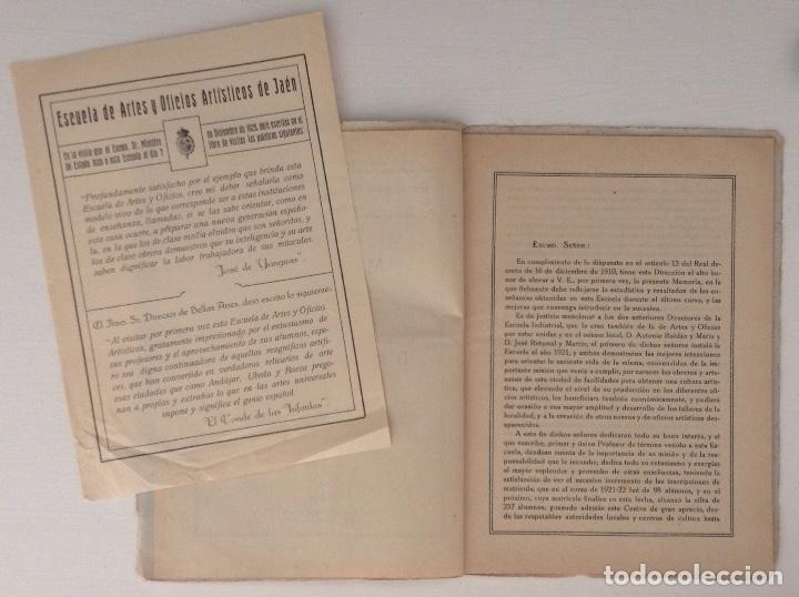 Documentos antiguos: JAEN Memoria curso 1925 - 1926 Escuela de Artes y Oficios Artísticos - Foto 3 - 182230081