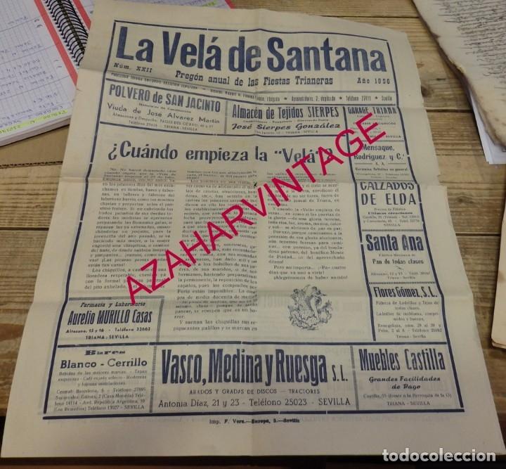 SEVILLA, 1956, LA VELA DE SANTANA, PROGRAMA FIESTAS, 4 PAGINAS,32X44 CMS, RARISIMA (Coleccionismo - Documentos - Otros documentos)