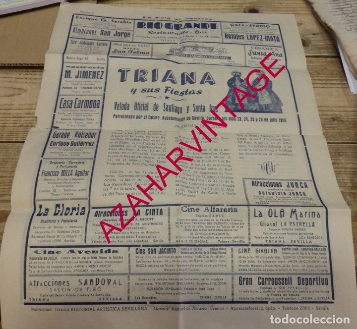 Documentos antiguos: SEVILLA, 1956, LA VELA DE SANTANA, PROGRAMA FIESTAS, 4 PAGINAS,32X44 CMS, RARISIMA - Foto 4 - 182292176
