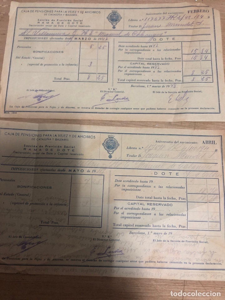 Documentos antiguos: Caja de pensiones para la vejez y ahorro - Foto 2 - 182383386