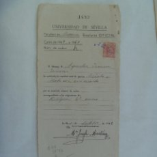 Documentos antiguos: UNIVERSIDAD SEVILLA - FACULTAD DE MEDICINA : MATRICULA RELIGION. 1949-50. VIÑETA. Lote 182390526