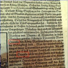 Documentos antiguos: CONDE DRÁCULA. CON ILUSTRACIÓN DE EMPALADOS. MUNSTER. SIGLO XVI. 1572.. Lote 182479240