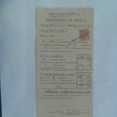Documentos antiguos: UNIVERSIDAD SEVILLA - FACULTAD DE MEDICINA : MATRICULA HONOR Y ORDINARIA. 1944. VIÑETA. Lote 182501045