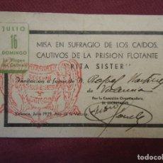 Documentos antiguos: GUERRA CIVIL.PRISION FLOTANTE-RITA SISTER-VALENCIA,JULIO 1939.AÑO DE LA VICTORIA.RARO.. Lote 182515485
