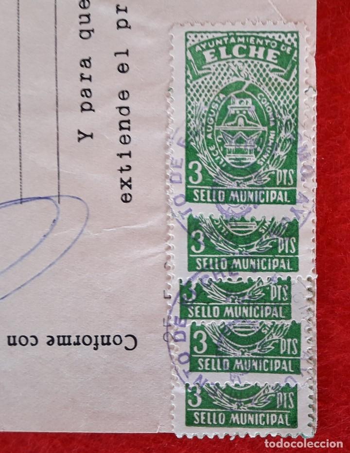 Documentos antiguos: DOCUMENTO DEL AYUNTAMIENTO DE ELCHE - ALICANTE 1968 , CON SELLOS MUNICIPALES - Foto 2 - 182536152