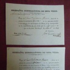 Documentos antiguos: COMPAÑIA MINERALOGICA DE NOVELDA. 1840 Y 1841.. Lote 182625406