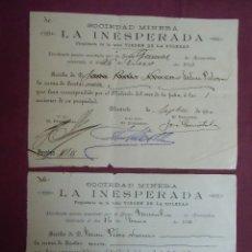 Documentos antiguos: SOCIEDAD MINERA LA INESPERADA. ALICANTE, 1910.. Lote 182625651