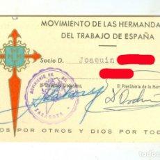 Documentos antiguos: ZARAGOZA. CARNET DE LA HERMANDAD FERROVIARIA AÑO 1946 FERROCARRIL TREN RENFE. Lote 182856306