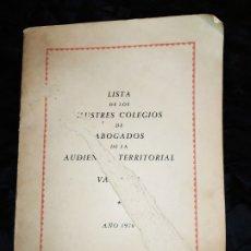 Documentos antiguos: ÚNICO LISTA DE LOS ILUSTRES COLEGIOS DE ABOGADOS DE LA AUDIENCIA TERRITORIAL VALENCIA 1976. Lote 182916293