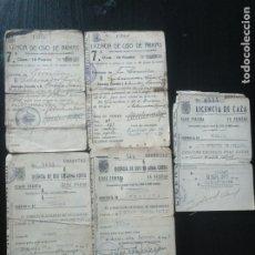 Documentos antiguos: LOTE 5 LICENCIAS DE ARMAS. ARMA CORTA: 1940, 1941 (CORUÑA) 1947, 1949 (VIZCAYA). CAZA: 1956 VIZCAYA. Lote 182953295