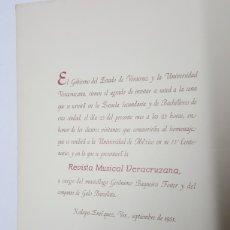 Documentos antiguos: INVITACION ESTADO DE VERACRUZ MEXICO ESCUELA BACHILLERATO AÑO 1951. Lote 183211052