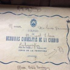 Documentos antiguos: LIBRETA - HERMANAS CARMELITAS DE LA CARIDAD - JEREZ DE LA FRONTERA - CADIZ . Lote 183264530