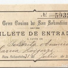 Documentos antiguos: GRAN CASINO DE SAN SEBASTIÁN. 1905. BILLETE DE ENTRADA A FAVOR DE ASUNCIÓN GARCÍA LOYGORRI.. Lote 183275463