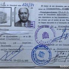 Documentos antiguos: TARJETA CARNET IDENTIDAD DE TRANSPORTES, ADUANAS Y CONSIGNACIONES DE BUQUES - PUERTO DE SANTANDER. Lote 183413205