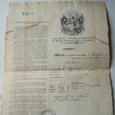 Documentos antiguos: CUBA CEDULA DE ESCLAVO FIRMADA POR CARLOS MANUEL DE CESPEDES CAPITAN GENERAL DEL EJERCITO LIBERTADOR. Lote 183563265