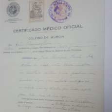 Documentos antiguos: CERTIFICADO MEDICO OFICIAL CARTAGENA AÑO 1933. Lote 183598616