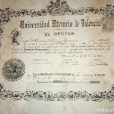 Documentos antiguos: TÍTULO O DIPLOMA BACHILLER UNIVERSITARIO UNIVERSIDAD LITERARIA DE VALENCIA A PASCUAL CHUAN CERVERA.. Lote 183686198