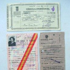 Documentos antiguos: LOTE 3 DOCUMENTOS POSGUERRA. ESPAÑA. CÉDULA. SALVOCONDUCTO FRONTERAS. 1943/47. Lote 183700406