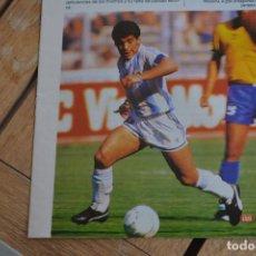 Documentos antiguos: RECORTE DE PRENSA CON LA FOTO DE DIEGO ARMANDO MARADONA (ARGENTINA)I MUNDIAL 1990. Lote 183711047