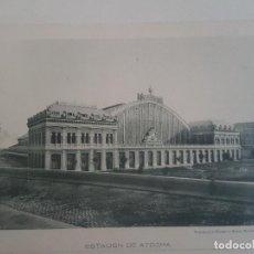 Documentos antiguos: MADRID ESTACION DE ATOCHA Y PUERTA DEL RETIRO DOS FOTOTIPIAS DE HAUSER & MENET HACIA 1900. Lote 183775911