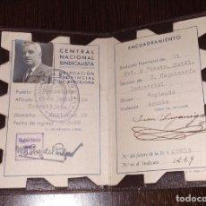 Documentos antiguos: CARNET CENTRAL NACIONAL SINDICALISTA. AÑO 1939. DELEGACIÓN PROVINCIAL DE BARCELONA. BUEN ESTADO. . Lote 183918195