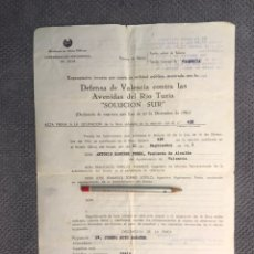 Documentos antiguos: VALENCIA. DOCUMENTO COLECCIONISMO. EXPROPIACION FORZOSA... DEFENSA DE VALENCIA ...(A.1963). Lote 183926748