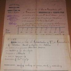 Documentos antiguos: 1884 HOJAS PEDIDO FABRICA PALMA DE MALLORCA. Lote 183949991