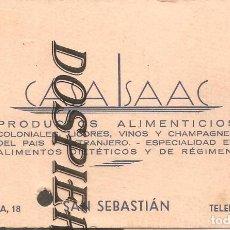 Documentos antiguos: ANTIGUA TARJETA VISITA-PUBLICIDAD, CASA ISAAC-PRODUCTOS ALIMENTICIOS, SAN SEBASTIÁN , AÑOS 50/60. Lote 183953412