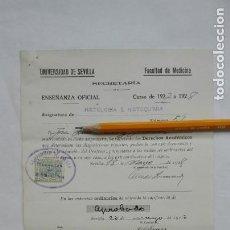 Documentos antiguos: UNIVERSIDAD DE SEVILLA - FACULTAD DE MEDICINA: NOTA HISTOLOGIA E HISTOQUIMIA. 1928. VIÑETA. Lote 183956171