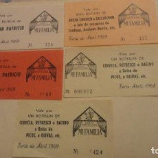 Documentos antiguos: CONJUNTO 5 VALES CASETA PARTICULAR MI FAMILIA.FERIA ABRIL SEVILLA 1968-69. Lote 183956252