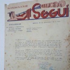 Documentos antiguos: CARTA PUBLICIDAD SEGUÍ A CINE INIESTA ALHAMA DE MURCIA AÑO 1946. Lote 183957001