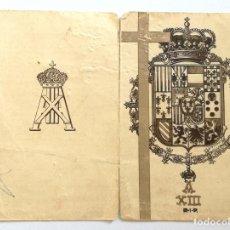 Documentos antiguos: ANTIGUO RECORDATORIO FALLECIMIENTO REY DON ALFONSO XIII ROMA 28 FEBRERO 1941. Lote 183995183
