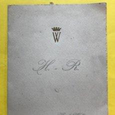 Documentos antiguos: HOTEL WELLINGTON 1958 MINUTA BODA MENU ENLACE DIPTICO HOTEL WELLIGTON MADRID 14X10. Lote 184177156